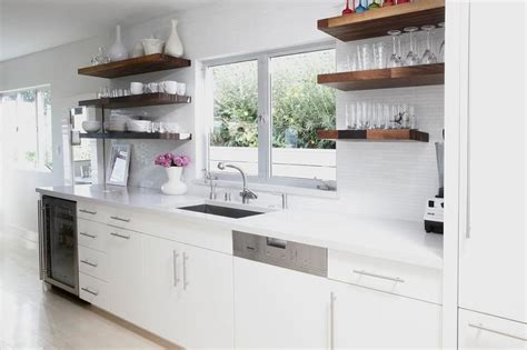 white flat front kitchen cabinets  gray quartz counters  overhead floating shelves