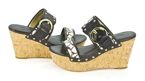 Coach Cortnee Signature Washed Canvas Wedge Sandals Shoes