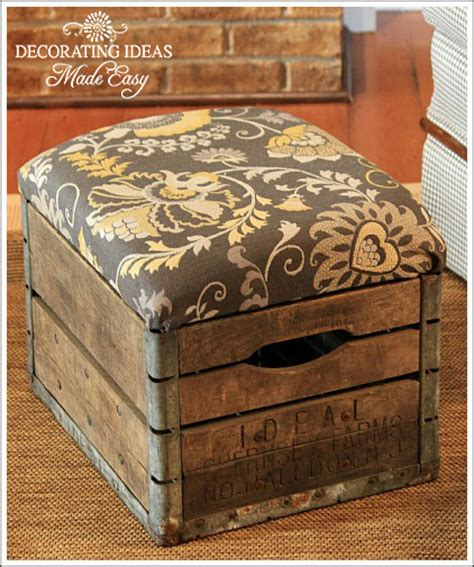 how to decorate an ottoman make a cool old crate ottoman by decorating ideas made