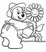 Coloring Garden Pages Gardening Flower Printable Watering Sunflower Flowers Colouring Sheets Gardens Cartoon Bears Butterfly Dq Bees Getcolorings Template Coloringhome sketch template