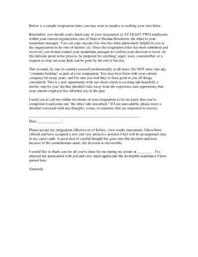 FREE 7+ Standard Job Resignation Letters in PDF | MS Word