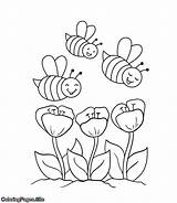 Coloring Bees Spring Flowers Bee Coloringpages Coming Flower Towards Printable Drawing sketch template