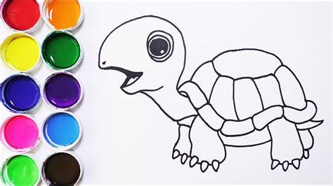 Cómo Dibujar y Colorear Tortuga de Arco Iris Dibujos