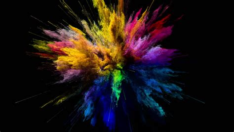 Cg Animation Of Color Powder Explosion On Black Background