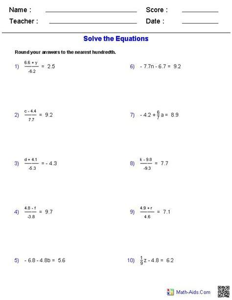step equations worksheets  decimals math
