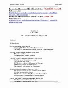International Economics 12th Edition Salvatore Solutions