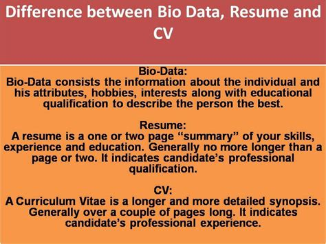 Difference Between Biodata Resume And Curriculum Vitae by Search Parineeti A Thought Transformation