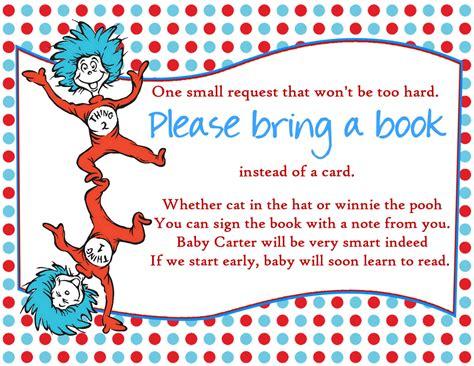 dr seuss baby shower dr seuss baby shower bring a book insert by createphotocards4u