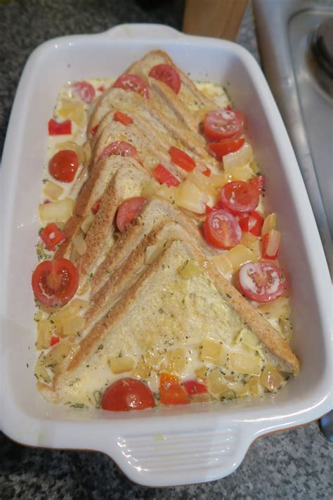 bread leftovers savoury bake into mixture poured dish egg