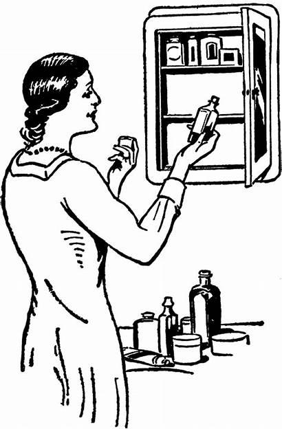 Medicine Cabinet Clip Clipart Cabinets Headache Drawing