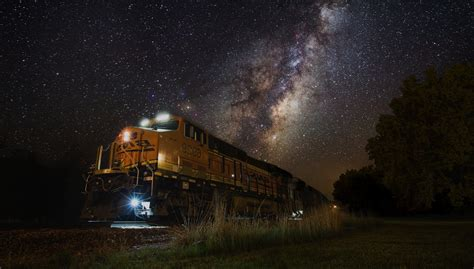 Train Night Lights Milky Way Landscape Nature Galaxy