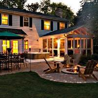 best porch patio design ideas Custom Built Stone Patio with Fire Pit and 3 Season Screened Porch - Design Ideas - Archadeck ...