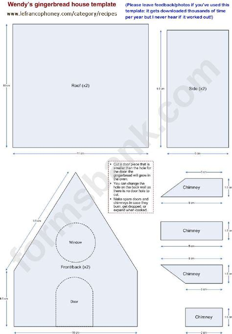 wendys gingerbread house template printable