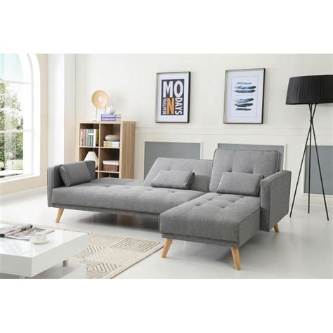 scandinave gris clair canape d angle convertible reversible