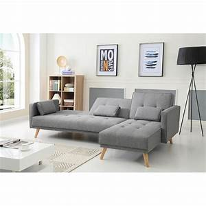 Scandinave gris clair canape d angle convertible reversible for Canapé convertible scandinave pour noël decoration magasin