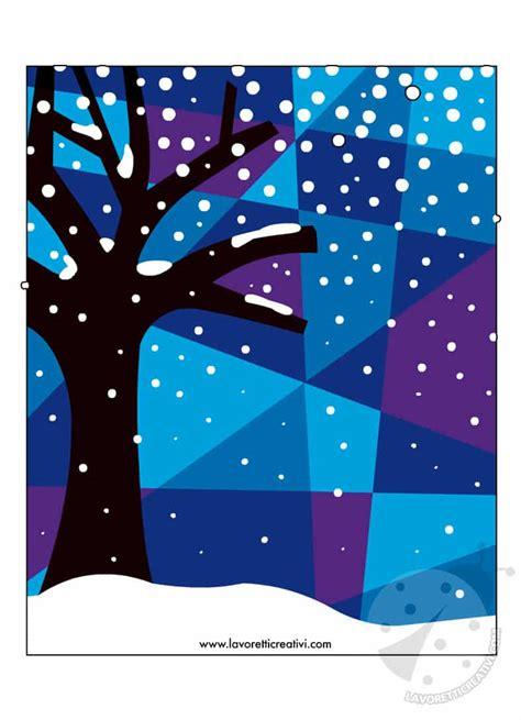 arte scuola primaria paesaggio notturno invernale