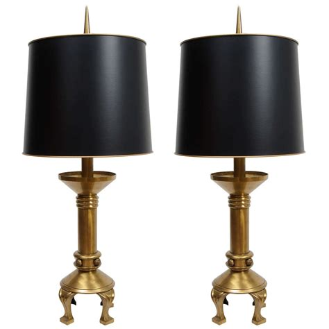 Vintage Brass Lamp Finials by Pair Of Mid Century Brass Lamps Original Finials At 1stdibs