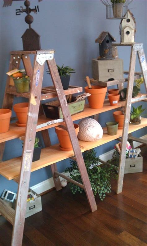 upcycled ladder shelves  creative display ideas
