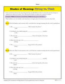 Shades of Meaning Words Worksheets