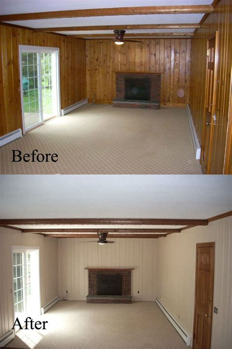 before and after old wall paneling primed and painted