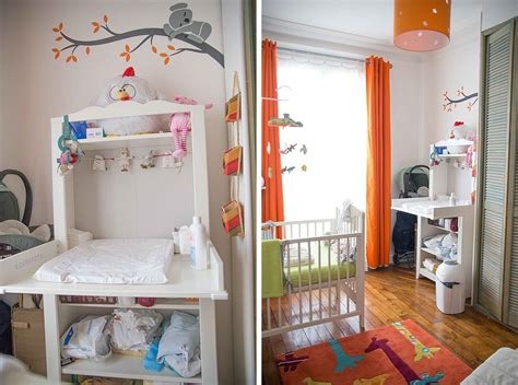 bebe dans chambre des parents une chambre de bébé blanche orange et verte du peps et