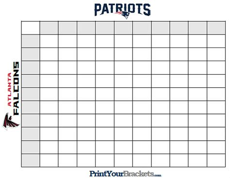 super bowl squares template   play