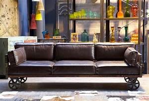 Canape cuir esprit industriel for Canapé design industriel