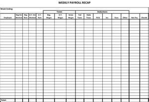 weekly payroll recap small business  forms
