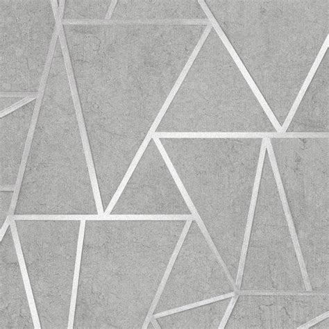 metro geometric apex wallpaper grey silver wallpaper