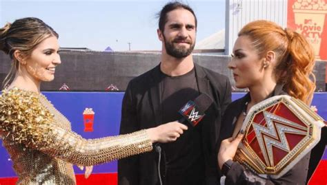 becky lynch  seth rollins interact  raw