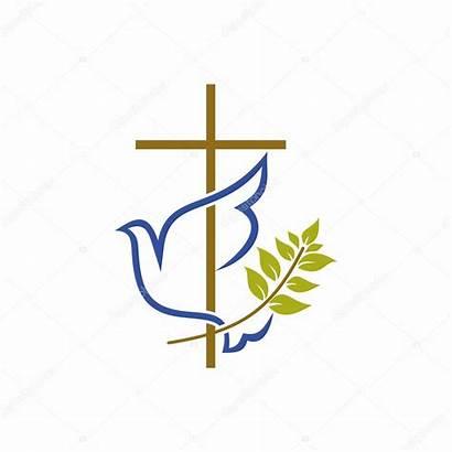 Cross Symbols Christian Church Dove Branch Olive