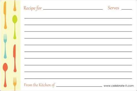 recipe card template word excel formats