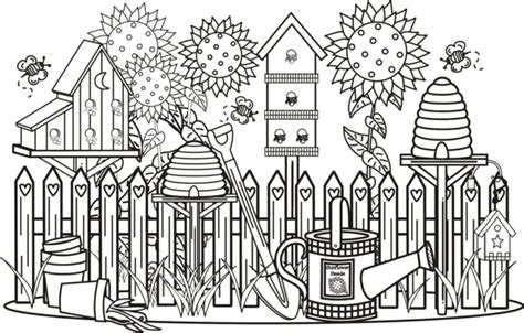 detailed garden coloring pages garden scene coloring