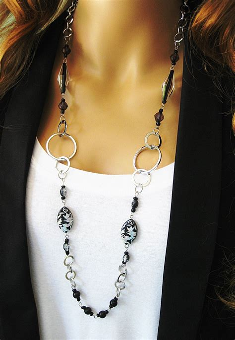 black beaded necklace chunky silver chain long beaded