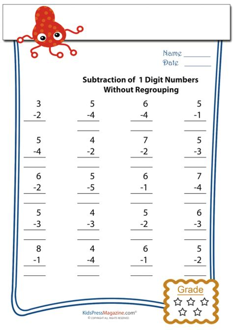 easy subtraction worksheets  kidspressmagazinecom