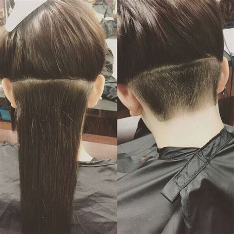 undercut women long hair design