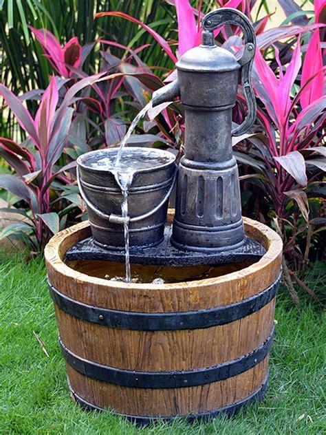 aqua moda solar pump on wooden barrel waterfeatures2go