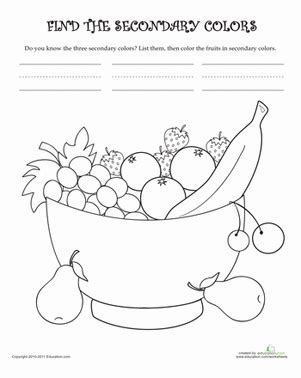 learn the secondary colors worksheet education 474 | learn secondary colors nature kindergarten