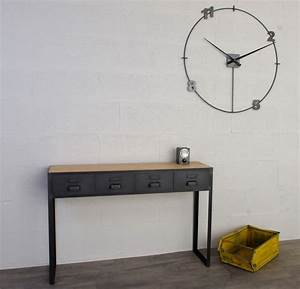 Console Bois Metal Industriel : console style industriel avec tiroirs sur mesure ~ Teatrodelosmanantiales.com Idées de Décoration