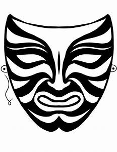 free printable mask coloring pages for kids With kabuki mask template