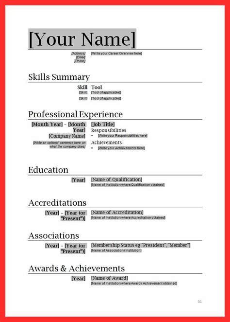 cv format  ms word good resume format
