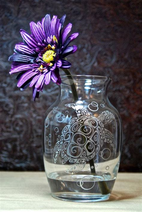 sea turtle vase glass etched vase etched glass gifts