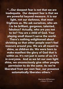 Marianne Williamson Our Deepest Fear Quote