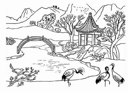 Pemandangan Mewarnai Gambar Sungai Coloring Pages Animals