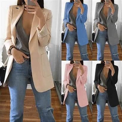 Blazer Mujer Suit Casual Jacket Slim Sleeve