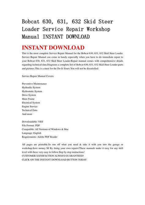 bobcat 630 631 632 skid steer loader service repair workshop manual instant by chen