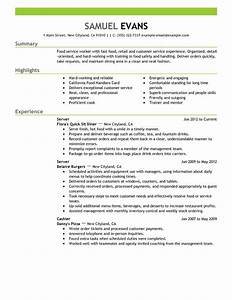 I need a resume fast food server example 6 help with for I need a resume fast