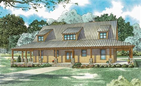 rustic farmhouse  wraparound porch  architectural designs house plans