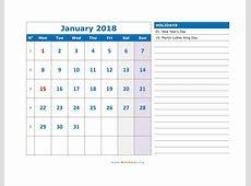 2018 Calendar WikiDatesorg