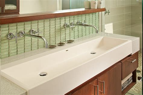 two faucet trough bathroom sink gorgeous trough sink in bathroom modern with vanity